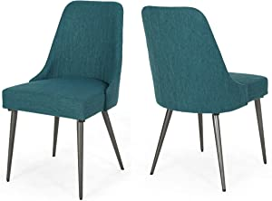 Christopher Knight Home Dawn Modern Fabric Dining Chairs (Set of 2), Teal