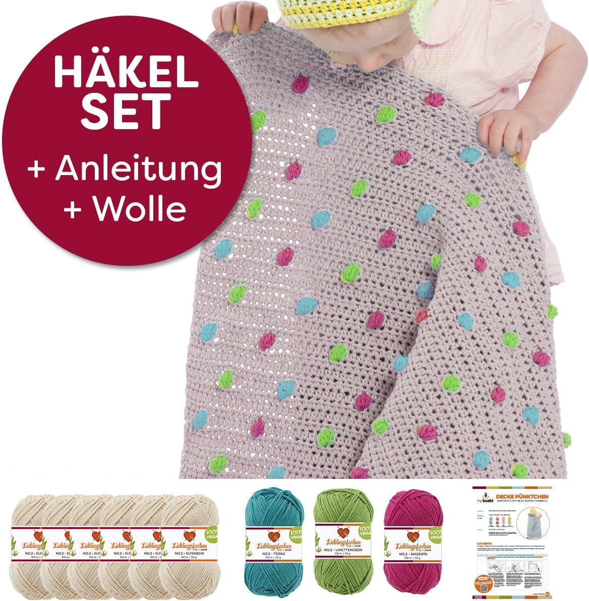Babydecke P/üncktchen Elfenbein Limettengr/ün H/äkelanleitung Magenta T/ürkis Baby-Decken-H/äkel-Set H/äkel-Garn myboshi H/äkel-Set ohne H/äkelnadel