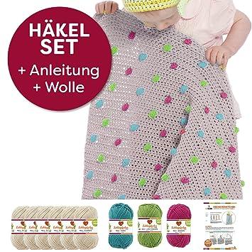 Myboshi Häkel-Set Babydecke mit Pünktchen 64cm x 67cm: 8 x Wolle ...