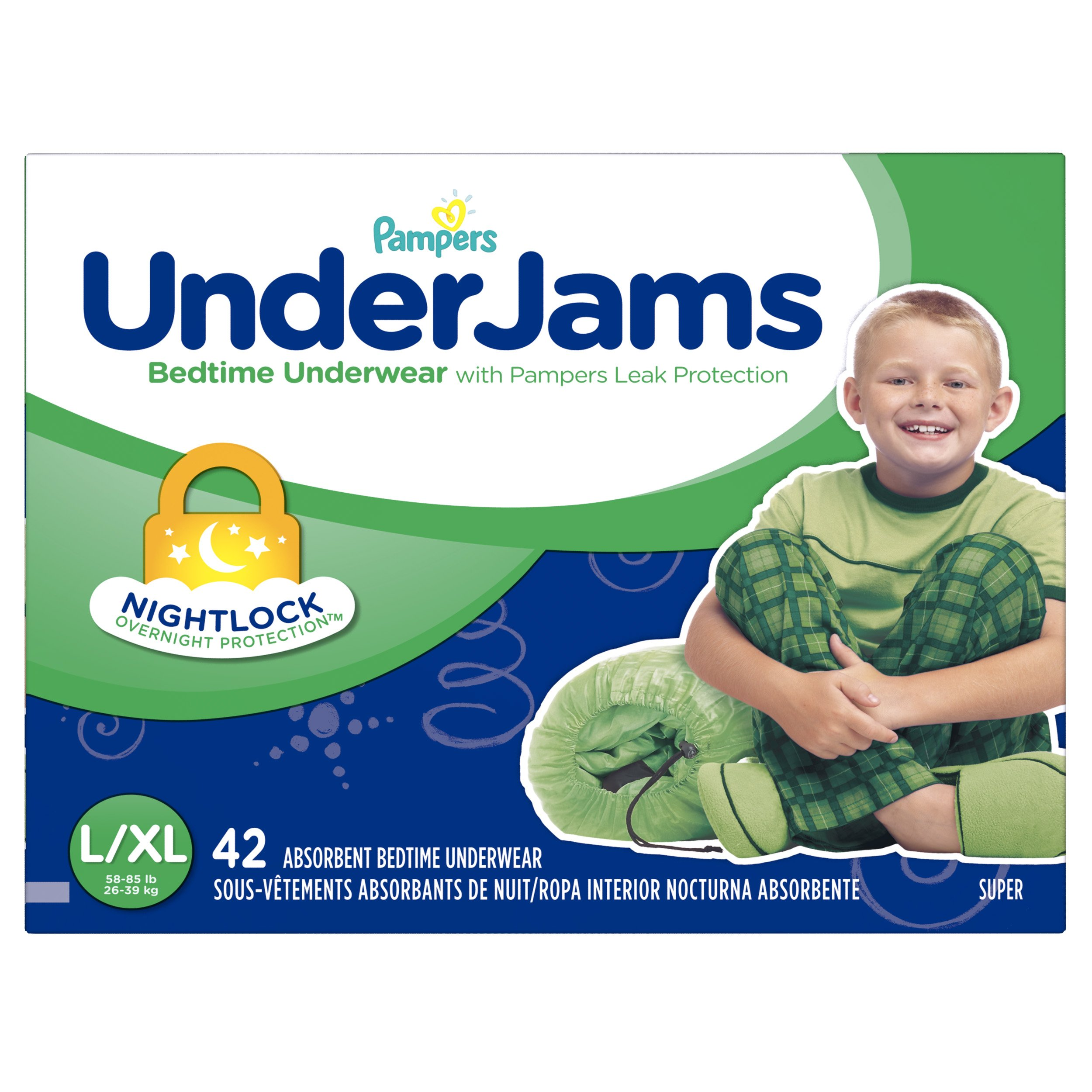 Pampers UnderJams Disposable Bedtime Underwear for Boys, Size L/XL, 42 Count, Super Pack