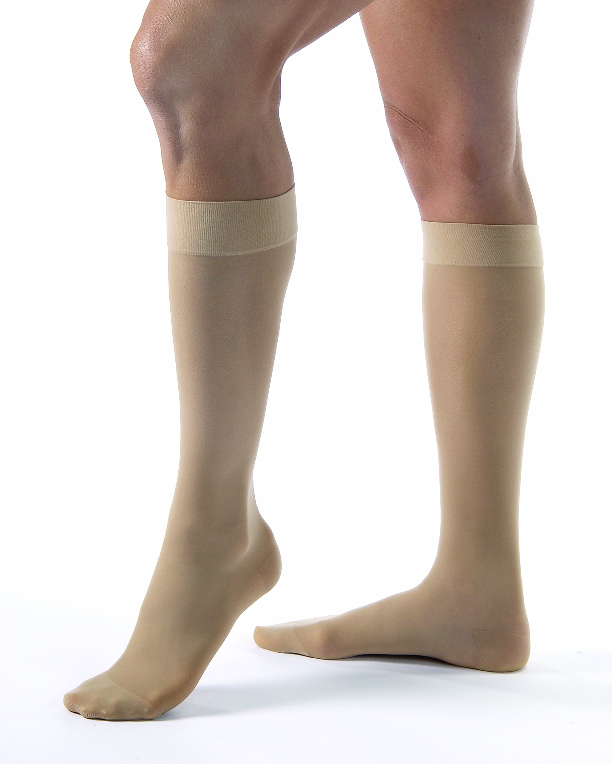 JOBST UltraSheer Knee High with SoftFit Technology Band, 20-30 mmHg Compression Stockings, Closed Toe, Medium, Natural