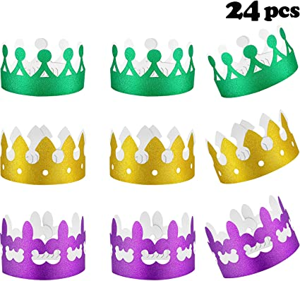 12 METALLIC MARDI GRAS COLOURED CROWNS Carnival Costume Outfit Accessory 250146