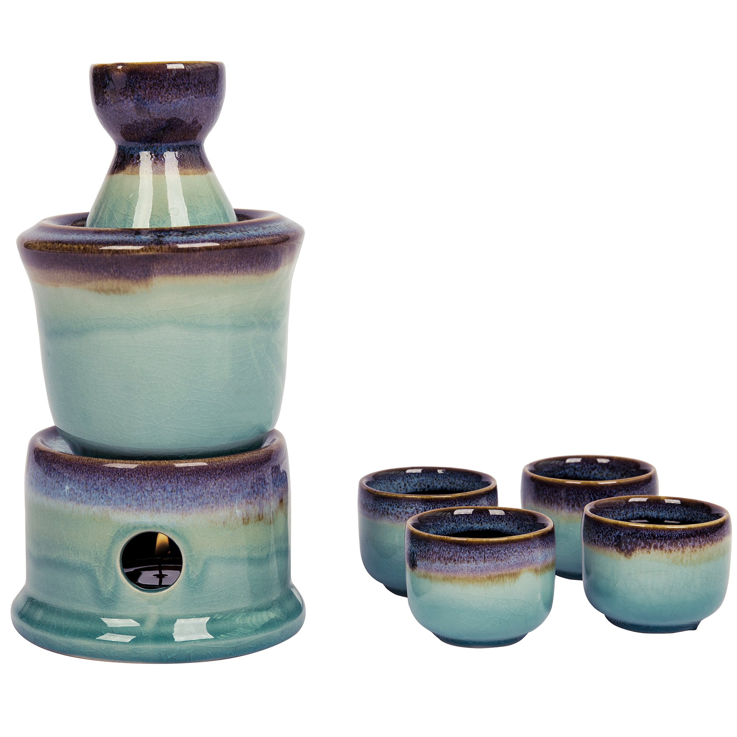 Japanese Style Ceramic Sake Serving Gift Set with Warmer, 7 Pcs, Purple by MyGift