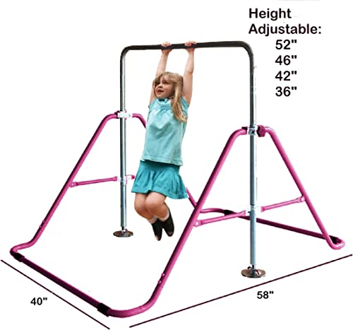 Kids Jungle Children Monkey Bar Gymnastics Tower Tumbling Athletic Expandable Kip PINK Balance Bar Junior Training Climbing Child Play Training Pull Up Gym