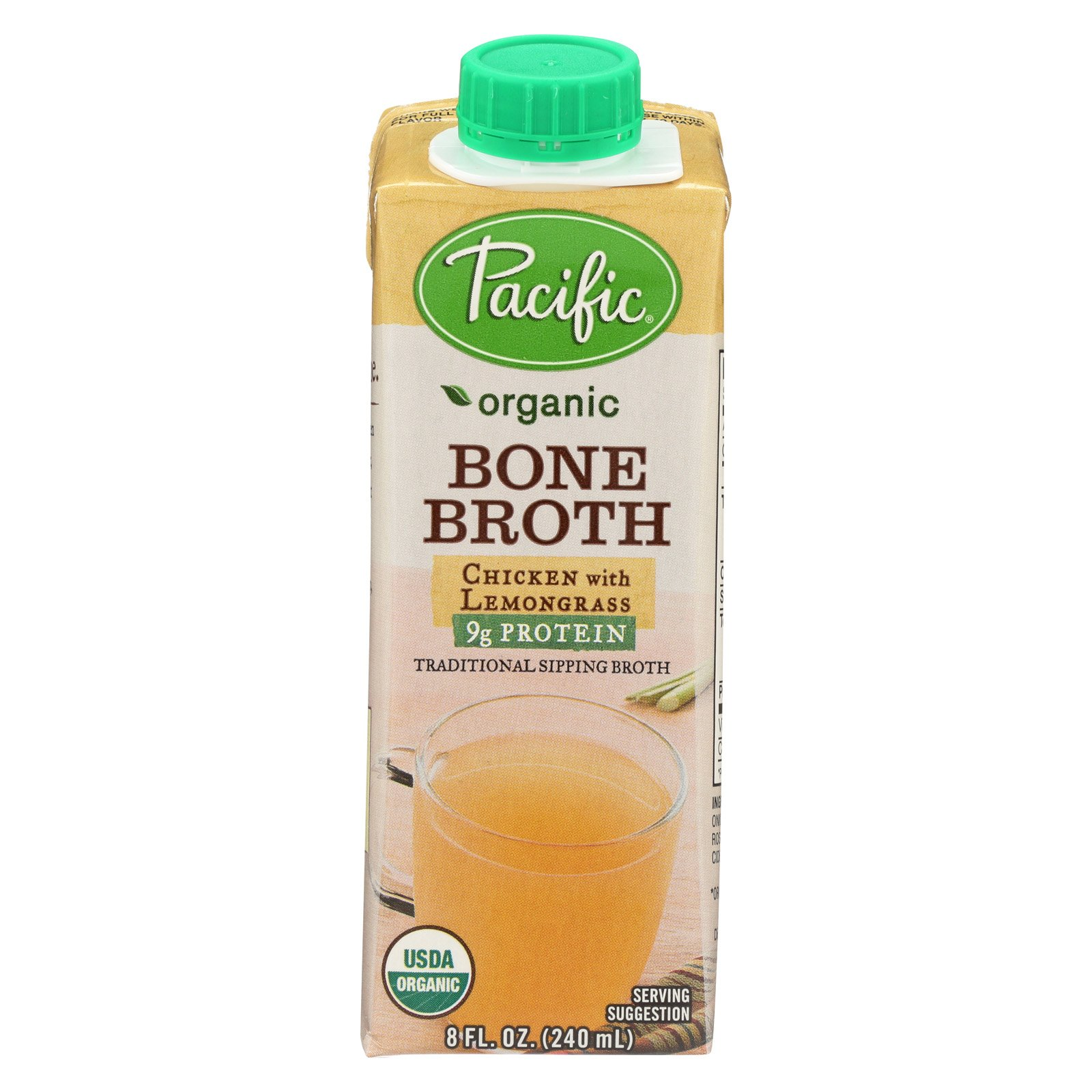 Pacific Natural Foods Bone Broth - Chicken with Lemongrass - Case of 12 - 8 Fl oz.