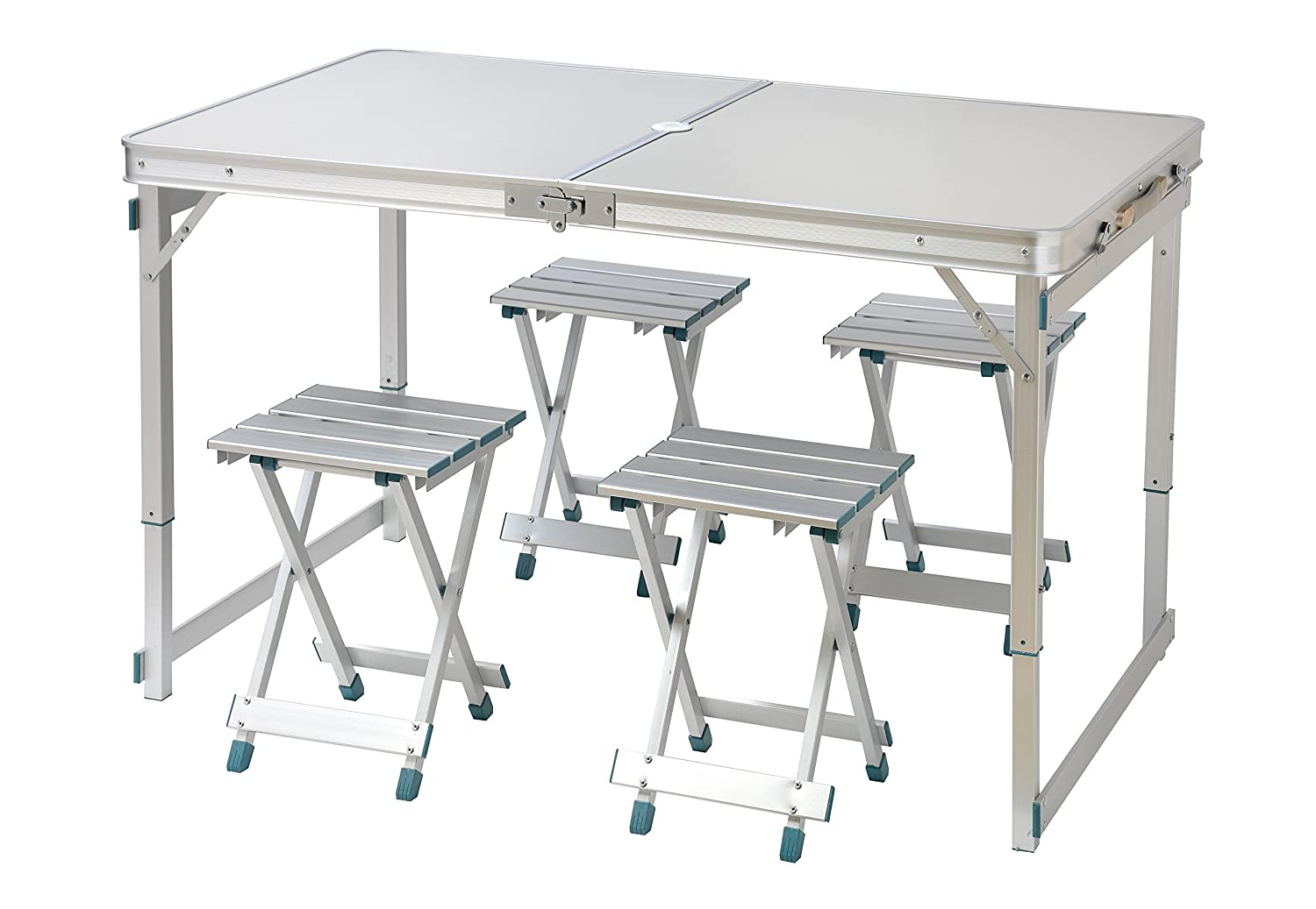 Trademark Innovations 47.2 4 Person Aluminum Lightweight Folding Camp Table with 4 Folding Stools