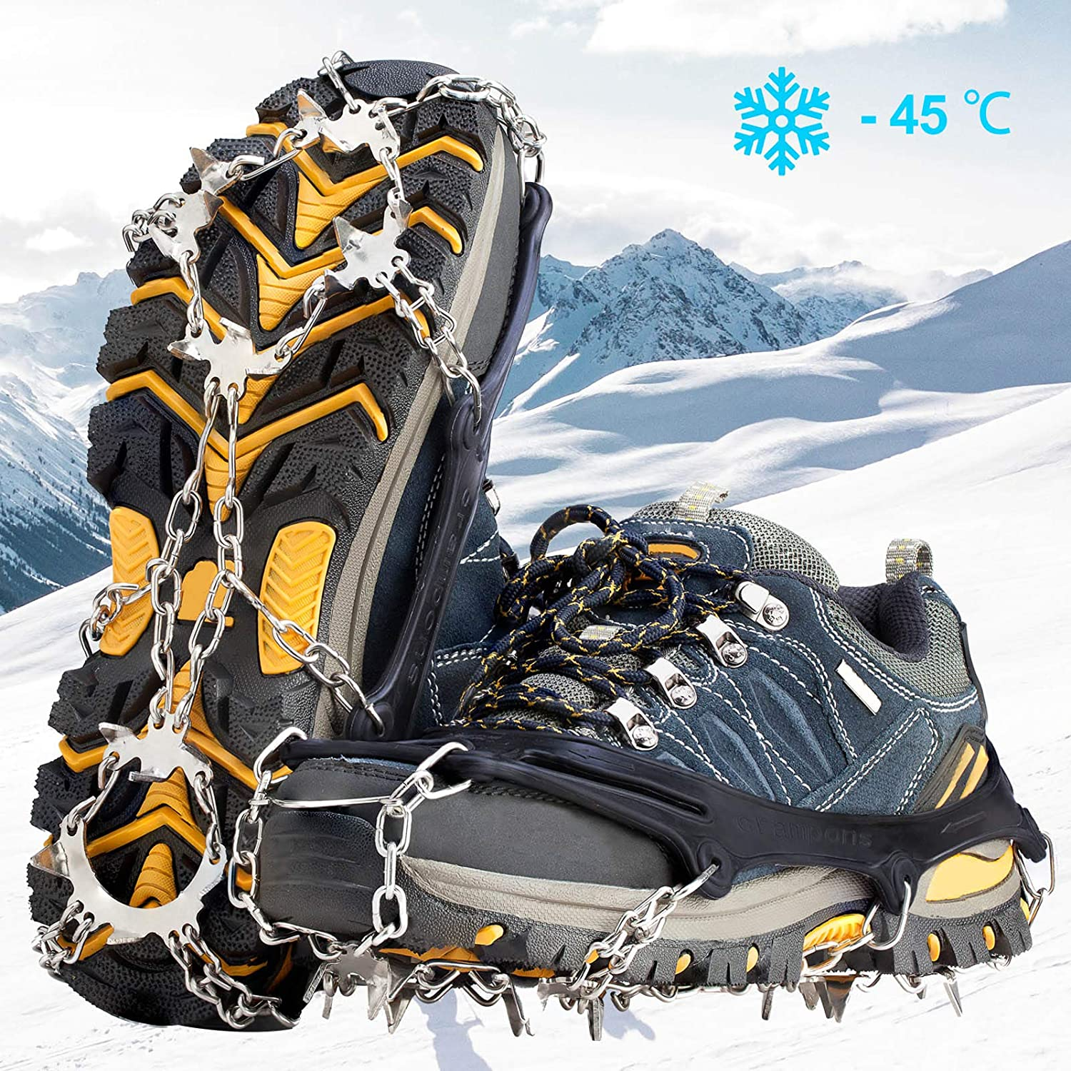 Everpertuk Ice Snow Grips Crampons Ice Cleats Spike Shoes Ice Traction Cleats Anti Slip 19 Studs Stainless Steel Spikes Non-slip Shoe Cover for Jogging Climbing Hiking Moutaineering