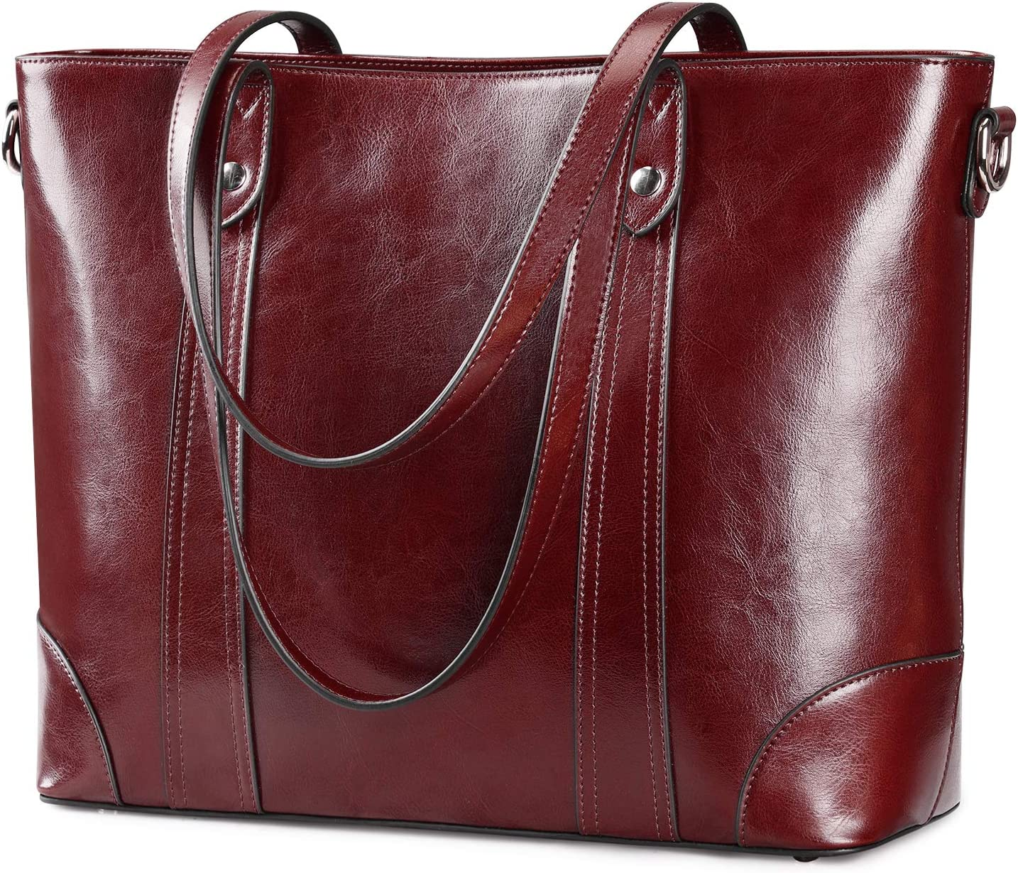 S-ZONE 15.6 Inch Leather Laptop Bag for Women Shoulder Handbag Large Work Tote (Wine Red)