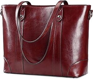 S-ZONE 15.6 Inch Leather Laptop Bag for Women Shoulder Handbag Large Work Tote (Wine Red)