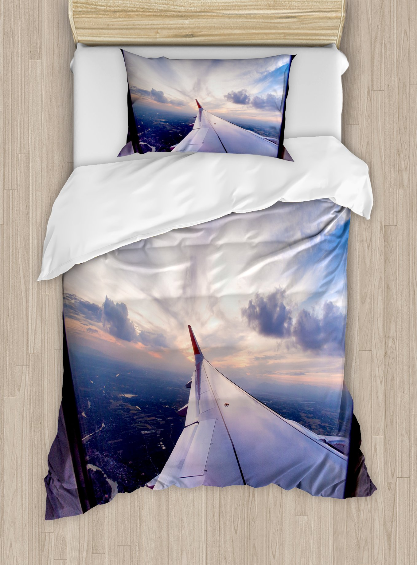 Airplane Decor Duvet Cover Set by Ambesonne, Airplane Travel Time is Sunset Business Distant Evening Float Holiday Horizon Journey Window, 2 Piece Bedding Set with 1 Pillow Sham, Twin / Twin XL Size