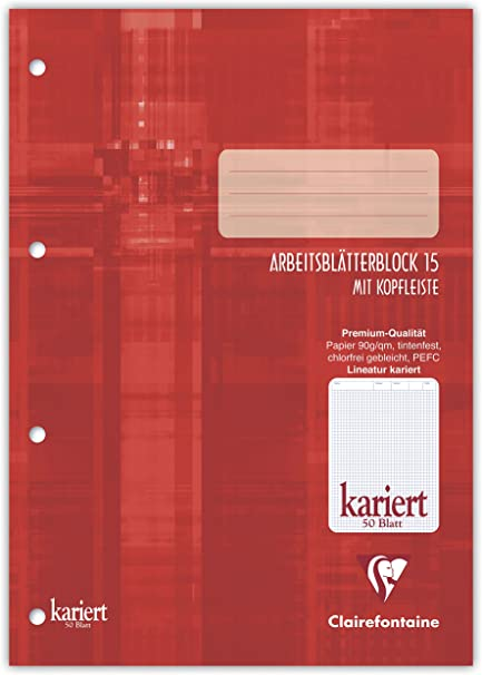 Clairefontaine 82615C 15 - Cuaderno (A5, a cuadros, pack de 10, 50 hojas): Amazon.es: Oficina y papelería