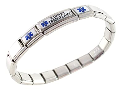 Kidney Transplant Medical Alert Stainless Steel Bracelet t7kbSt