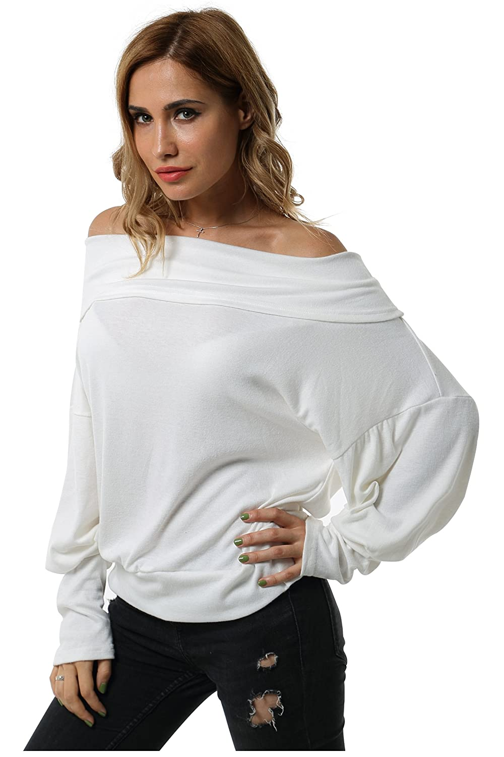 Aifer Women's Casual Off Shoulder Long Sleeve Loose Blouse Shirt Tops