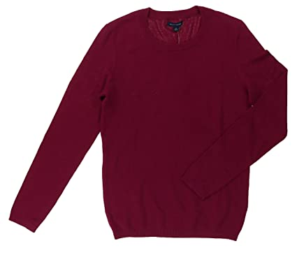 Tommy Hilfiger Women s Long Sleeve Crew Neck Pull Over Sweater (Small, Red  Plum) 4818878811