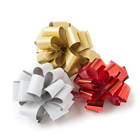 Hallmark Signature Holiday Assorted 5 Bow Bundle Pack Of 3 Red Silver Gold Diy Pull Bows For Gifts