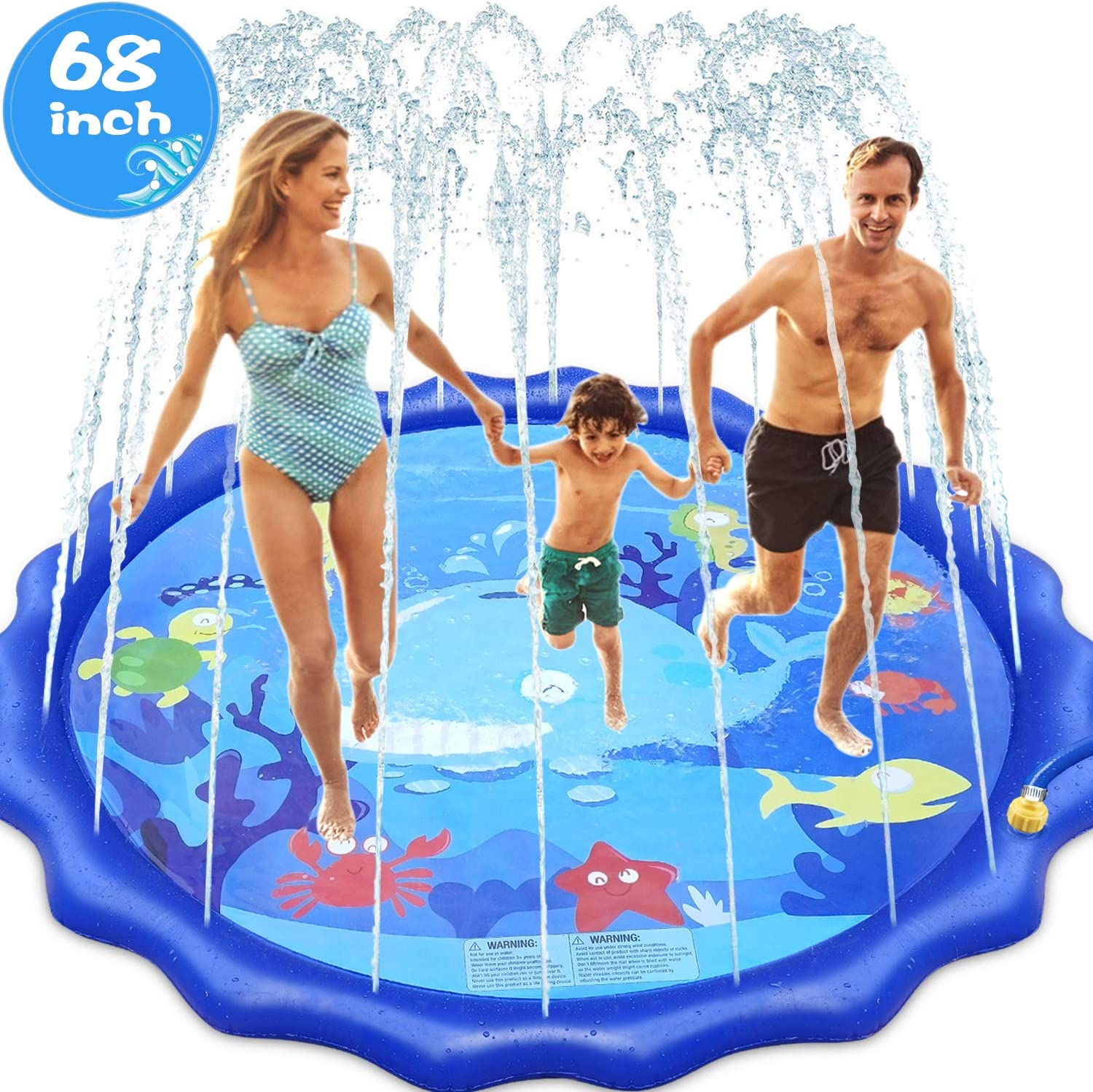 INNOCHEER Sprinkler Splash Pad for Kids Outdoor Play, 68 Inch Extra Large Children's Sprinkler Pool Water Wading Pool Summer Toys for Boys Girls 3+ Years Up: Toys & Games