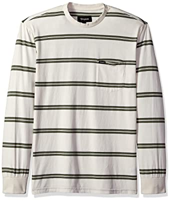 694829cd4 Brixton Men's Hilt Long Sleeve Washed Tailored Fit Pocket Knit Tee, Off Off  White/