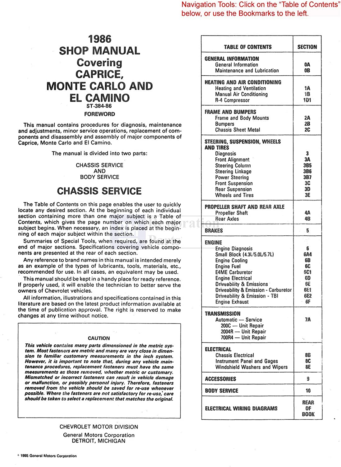 1988 Chevy Monte Carlo Electrical Diagnosis Manual Wiring Diagram Chevrolet Book Service Repair Manuals Vehicle Parts Accessories