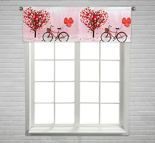 ECZJNT Valentine s Day Heart Tree A Bicycle Heart Balloons Window Curtain Valance Rod Pocket Size 54×18 Inch
