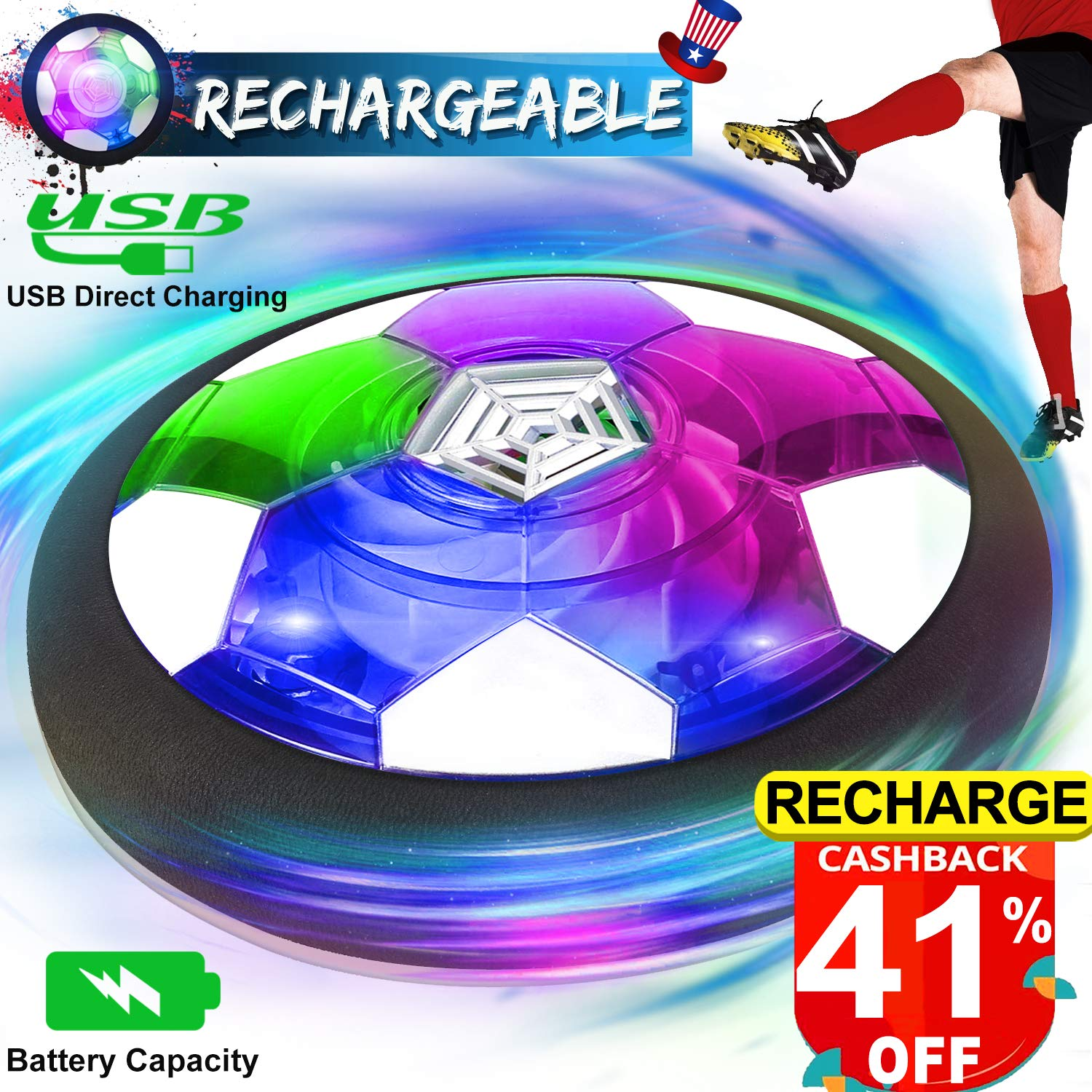 Kids Toys Hover Soccer Ball Rechargeable Air Soccer Ball, Indoor Outdoor Soccer Ball Floating Soccer with Beautiful LED Light & Foam Bumper,Boys Girls Age 2, 3, 4,5,6,7,8-16 Year Old by Camlinbo