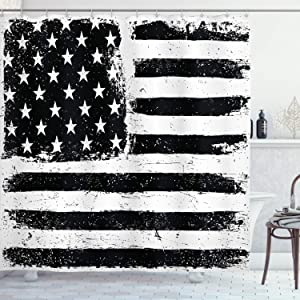 """Ambesonne United States Shower Curtain, Grunge Aged Black and White American Flag Independence Fourth of July Design, Cloth Fabric Bathroom Decor Set with Hooks, 70"""" Long, Black and White"""