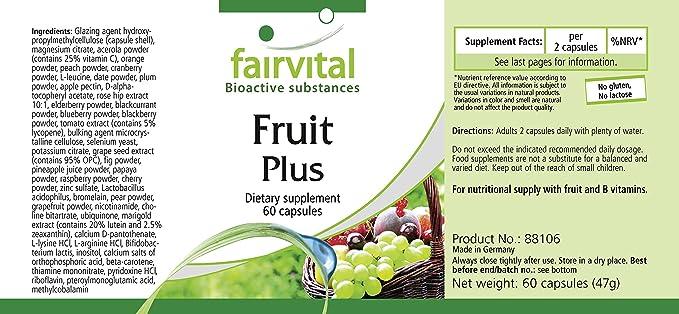 Fruta y Verdura Plus - 120 cápsulas - VEGANO - polvo de fruta y ...