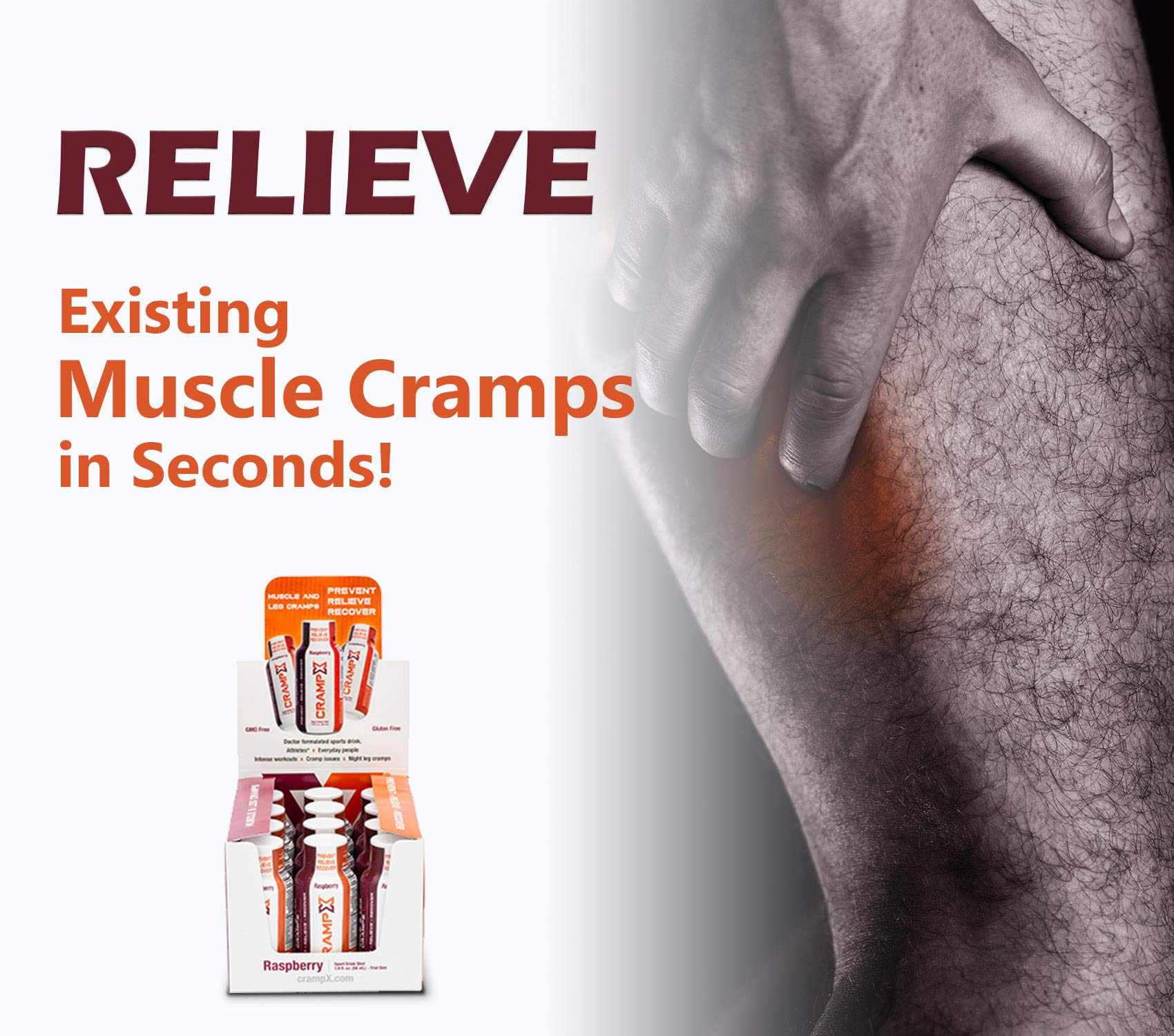 CrampX Muscle Cramp Relief Drink | Proven to Prevent and Treat Muscle Cramps in Seconds | Gluten Free Cramp Remedy for Hand Cramps, Leg Cramps, Foot Cramps | Raspberry 2 oz - Pack of 12 by CrampX (Image #4)