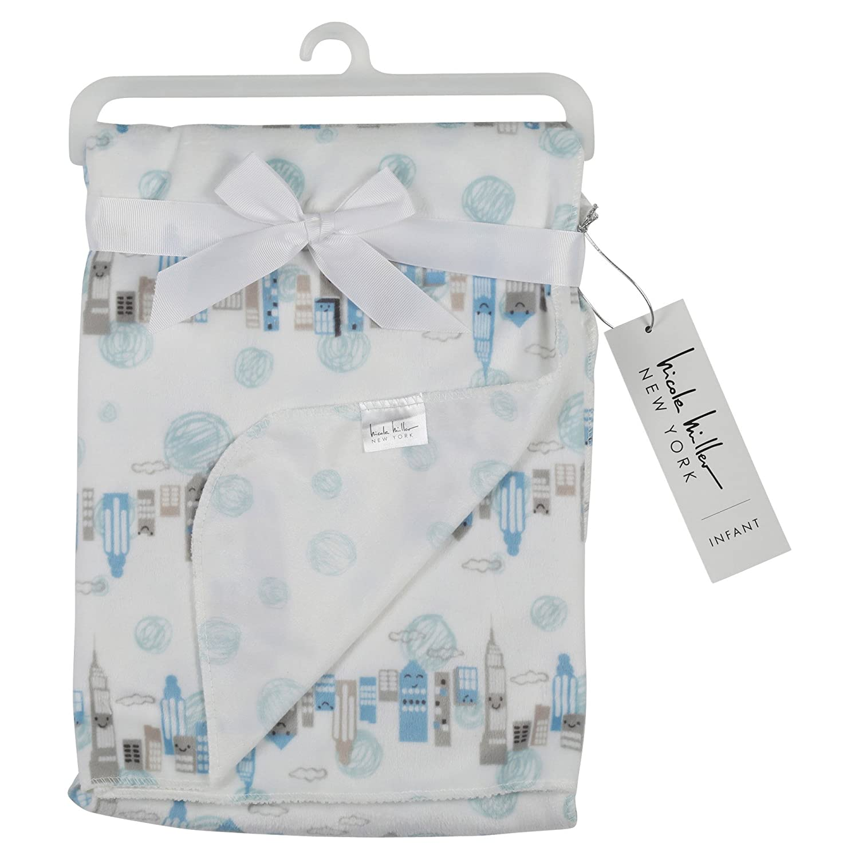 Nicole Miller New York Infant Boys Double Sided Mink Blanket, City Scape Print