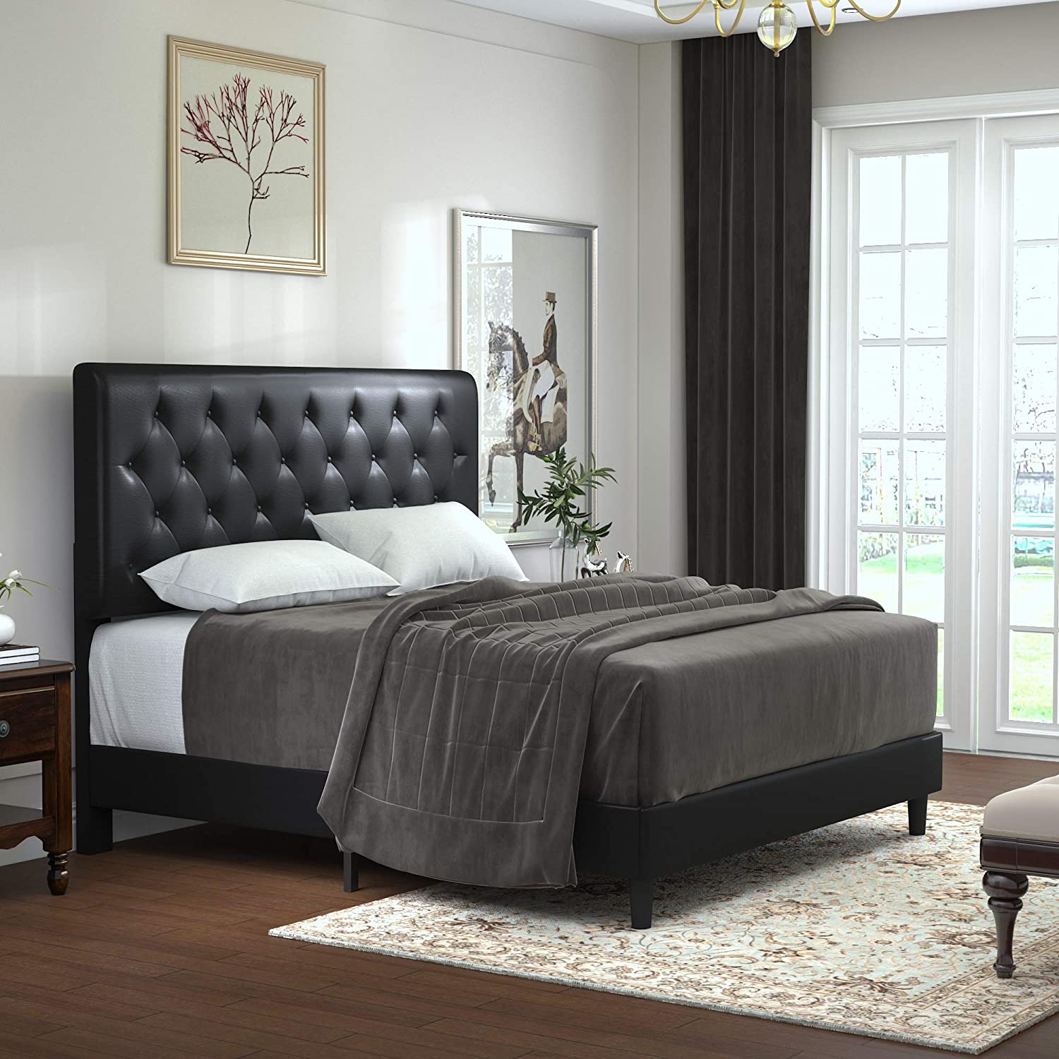Allewie Full Size Bed Frame Platform Bed with Faux Leather Upholstered Diamond Stitched Button Tufted Headboard and Wood slats/Mattress Foundation/No Box Spring Needed/Easy Assembly/Black