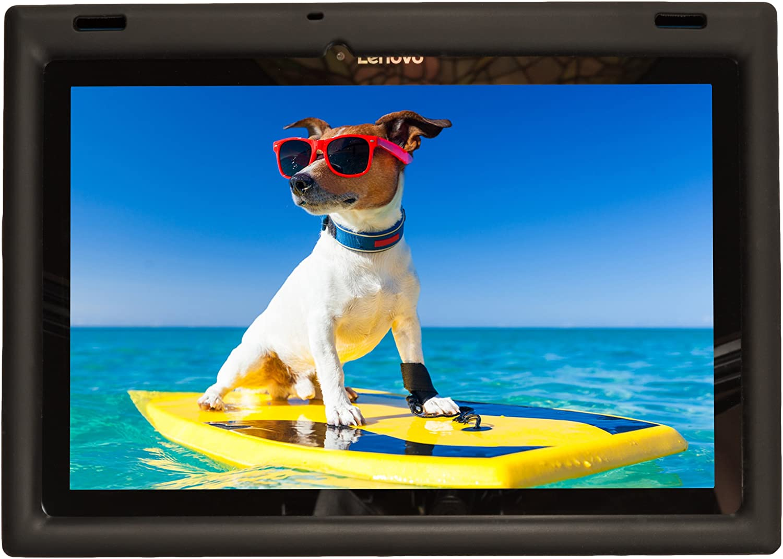 BobjGear Bobj Rugged Case for Lenovo 10 TB-X103F or Tab 2 A10-30 or Tab2 X30F Custom Fit - Patented Venting - Sound Amplification - BobjBounces Kid Friendly (Bold Black)