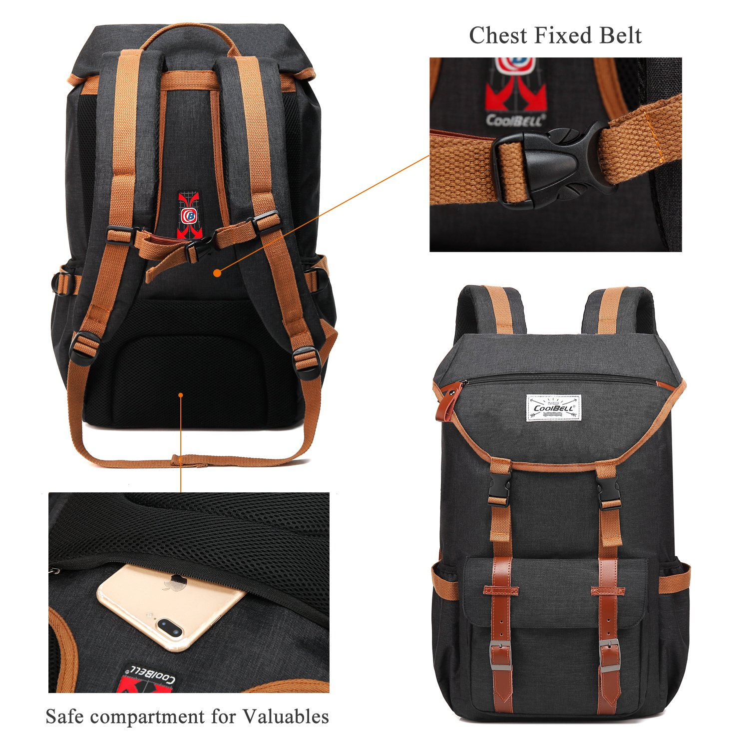 Travel Backpack CoolBELL 17.3 Inches Laptop Backpack Leisure Outdoor Rucksack Hiking Knapsack School Daypack Multi-functional Business Bag For School/College/Men/Women (38L, Black) by CoolBELL (Image #6)