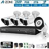 A-ZONE 200万画素タイプ 防犯カメラキット 4CHレコーダー&4台カメラフルハイビジョン 防水IP67 ナイトビジョン監視カメラiPhone Android スマホ PC 遠隔監視 対応 (2TBHDD付き) (SA1080440-2)