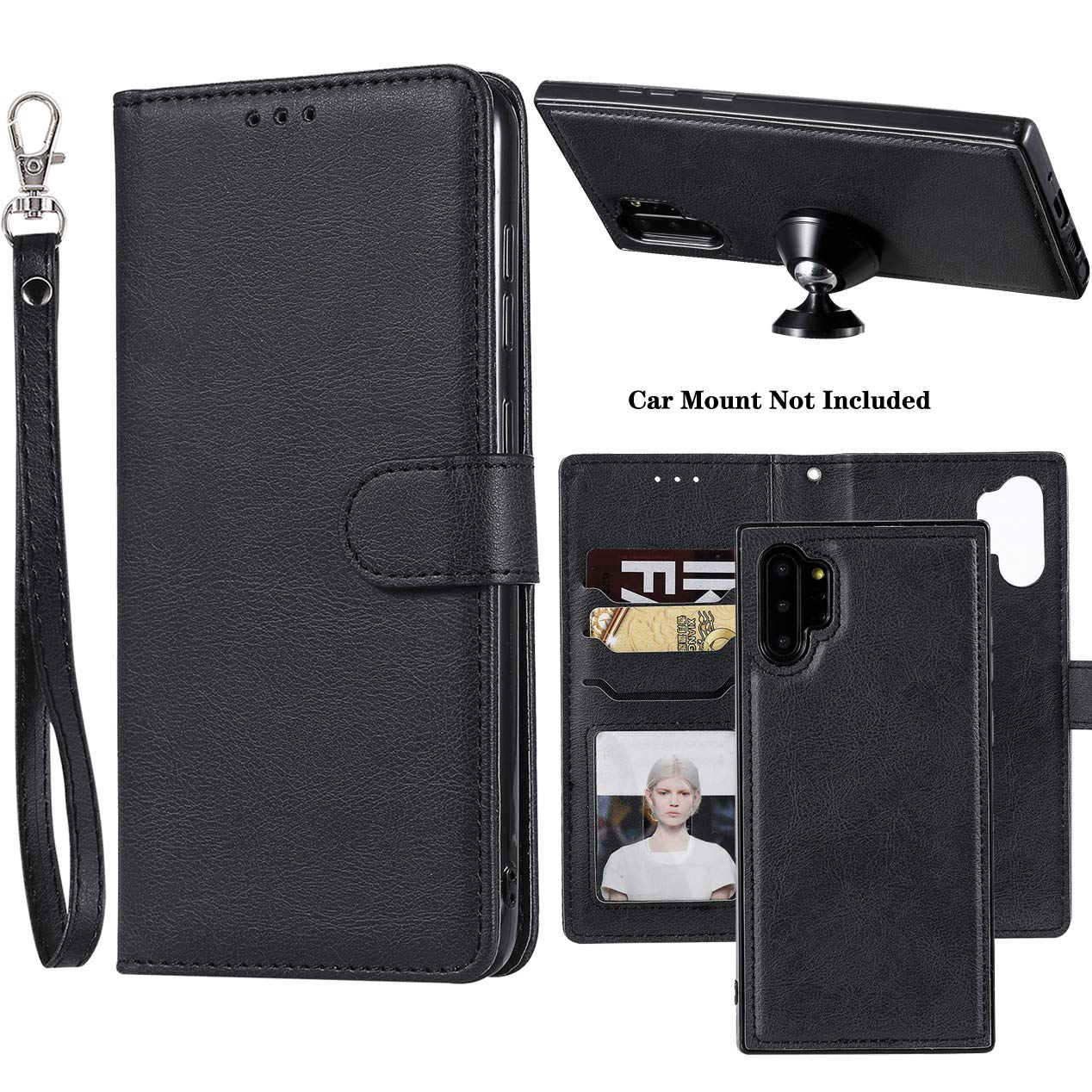 Galaxy Note 10 Plus Case, Ranyi Detachable Wallet Case [Magnetic Cover Fit Car Mount] Credit Card Holder Slots 2 in 1 Leather Flip Folio Wallet Case for Samsung Galaxy Note 10+ Plus/Pro/5G (Black) by Ranyi