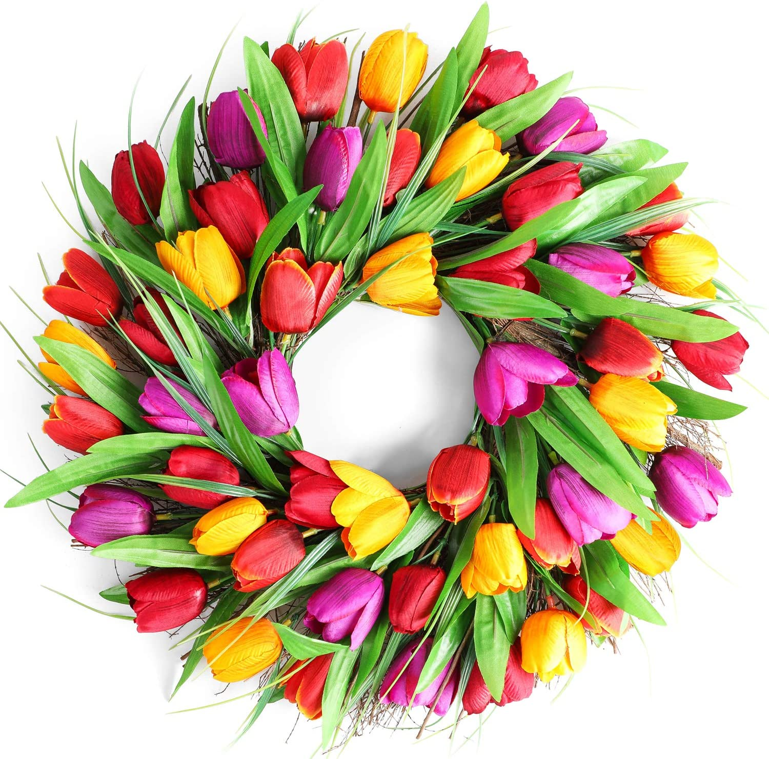 "LASPERAL Tulip Wreath Flower Wreaths for Front Door 16.5"" Tulip Wreath Front Door Wreath Home Décor for Window Wall Party Wedding Valentines Day Hanging Decorations"