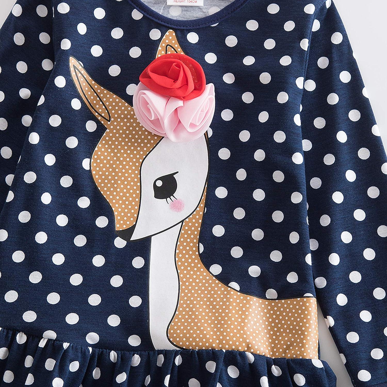 JUXINSU Toddler Girl Cotton Long Sleeve Dress Owl Cartoon Lace Dress for Baby Girls Kids 3-8 Years LH6252