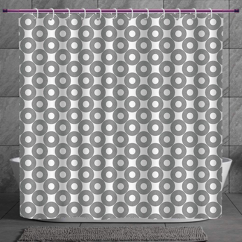 Unique Shower Curtain 2 0 Geometric Circle Decor Vinyl Records Inspired Concentric Rings With Curve Grids Art Print Black Gray Machine Washable Shower Hooks Are Included Amazon In Home Kitchen