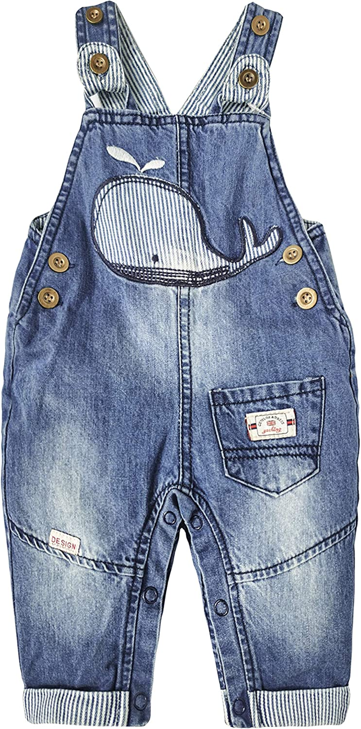 KIDSCOOL SPACE Baby Girls Easy Diaper Changing Snap Legs Whale Embroidered Denim Overalls