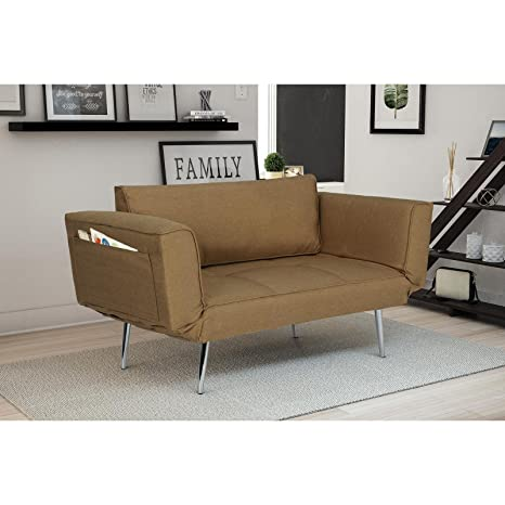 Amazon.com: Tan Futon, sala de estar, hecha de tela ...