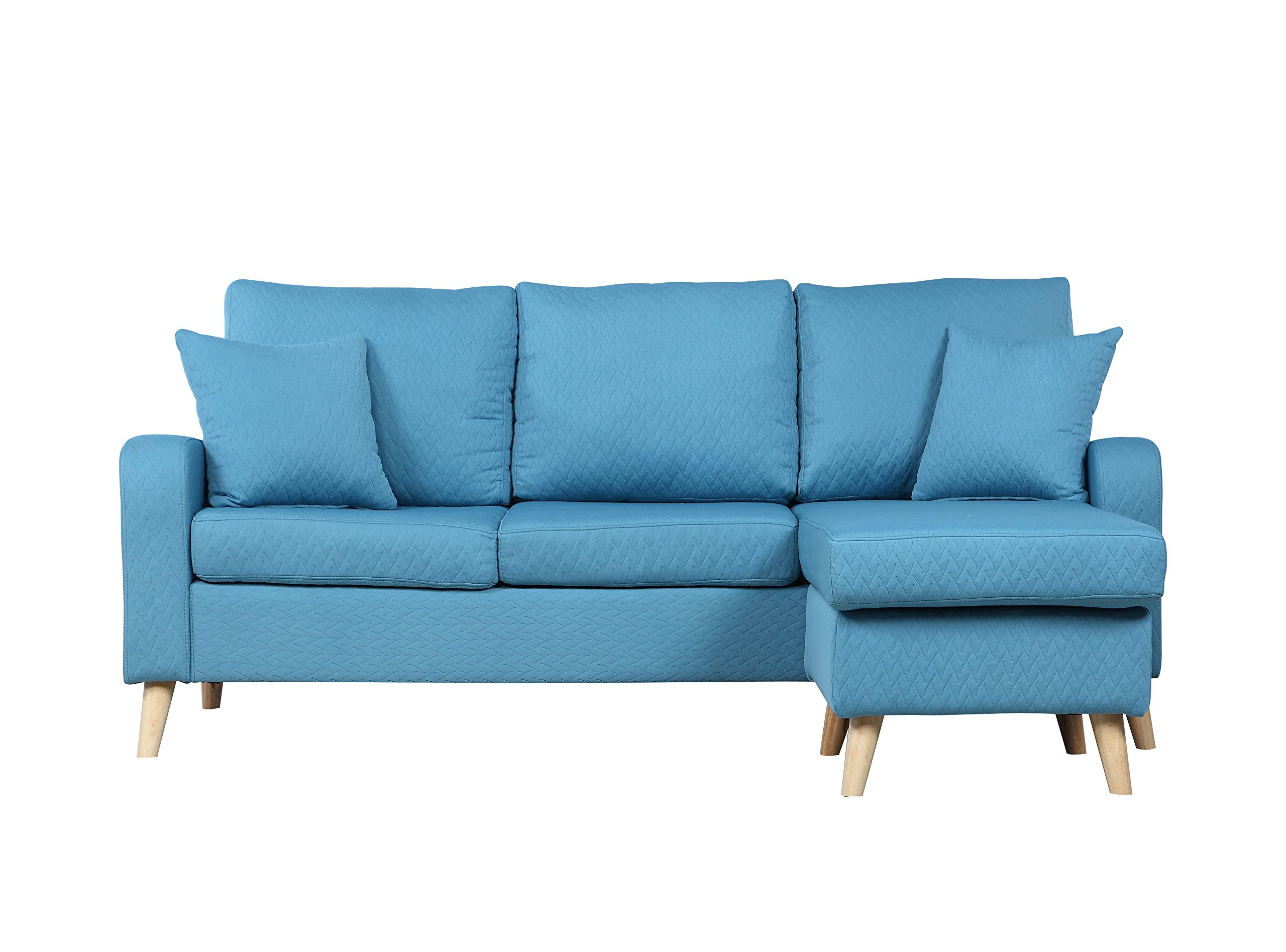 Divano Roma Furniture Middle Century Modern Linen Fabric Small Space Sectional Sofa with Reversible Chaise (Sky Blue) - Mid-century modern linen fabric with quilted stitching sectional sofa with reversible chaise lounge in a variant of colors Features soft fabrics with quilted details in fun colors on hardwood frame, overstuffed cushions and two decorative pillows in the same fabric and stitching Small space configurable sectional, allowing to position chaise on either end - Perfect for small apartments of studios - sofas-couches, living-room-furniture, living-room - 81fEggs0ChL -