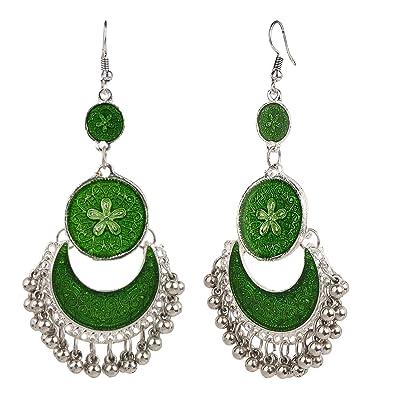 Efulgenz Indian Vintage Retro Ethnic Gypsy Oxidized Silver Tone Boho Jhumka Jhumki Dangle Hook Earrings for Girls and Women Love Gift