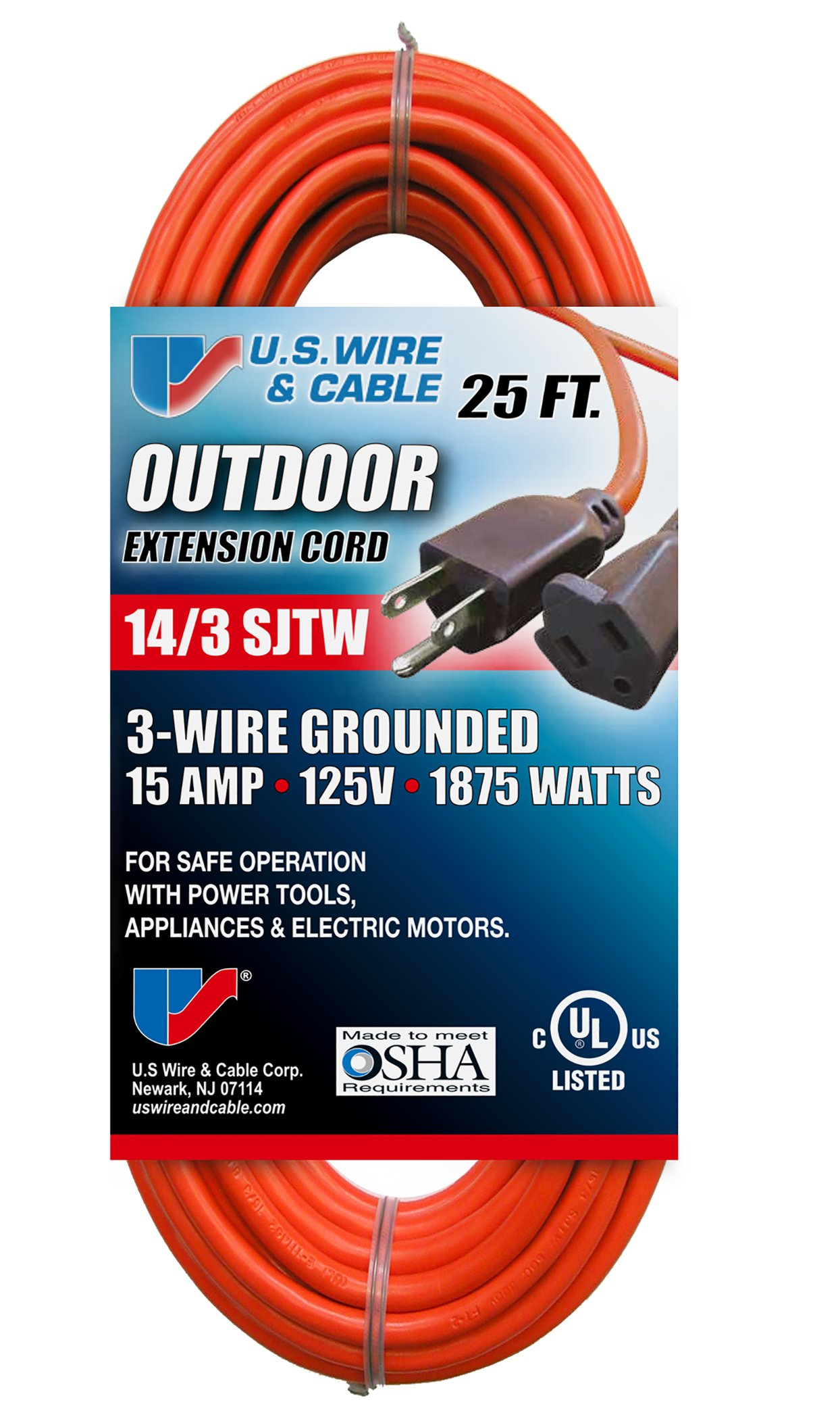 US Wire 63025 14/3 25-Foot SJTW Orange Medium Duty Extension Cord by US Wire and Cable