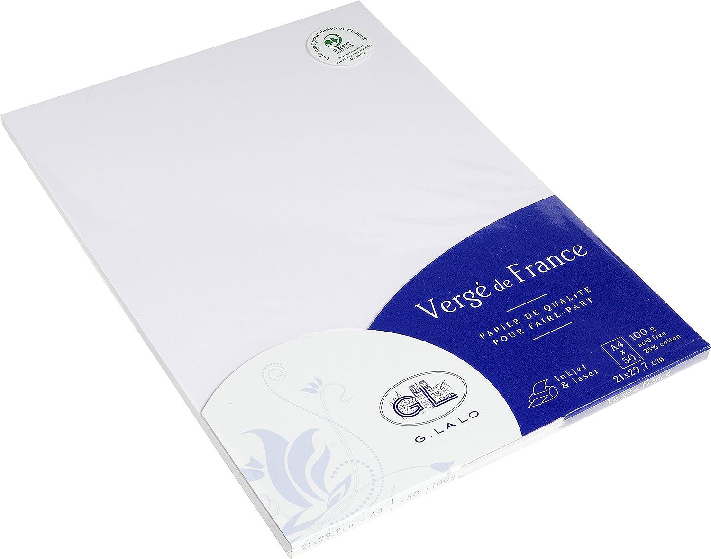 Clairefontaine Vergé - Caja de 50 hojas de papel, A4, 100 g, crema, 1 unidad: Amazon.es: Oficina y papelería