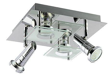 Trango Plafonnier LED carré à 4 ampoules, plafonnier design, plafonnier  pour salle de bain, TG3089,4 ampoules LED GU10 230 V