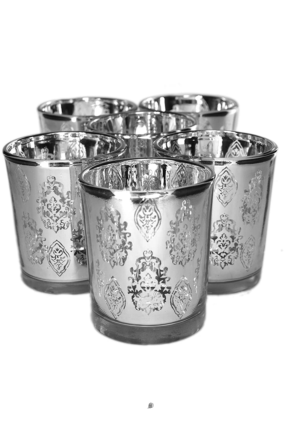 Set of 6 Moroccan Motif Silver Mercury Glass Votive / Tealight Candle Holders American Chateau