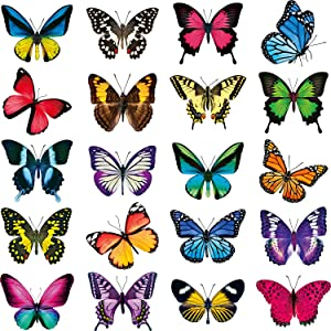20 Pieces Large Size Butterfly Window Clings Anti-Collision Window Clings Decals to Prevent Bird Strikes on Window Glass Non Adhesive Vinyl Cling Butterfly Stickers Cling Decor