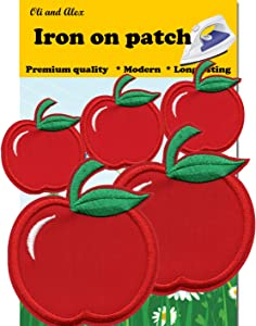 Iron On Patches - Red Apple Iron on Patches 5 Pcs or Kids Children Baby Embroidered Applique A-2