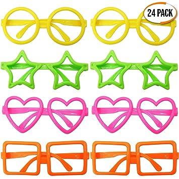THE TWIDDLERS Granel 24 Gafas Surtidas de Formas Novedosas - Sin Lentes - Ideal para Accesorios Fiestas de Cumpleaños - Regalo niños de Fiesta - ...