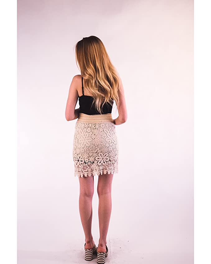 0c26521009 Lady Sexy Hollow Crochet Lace Skirt with Floral Star pattern holiday beach  wear: Amazon.co.uk: Clothing