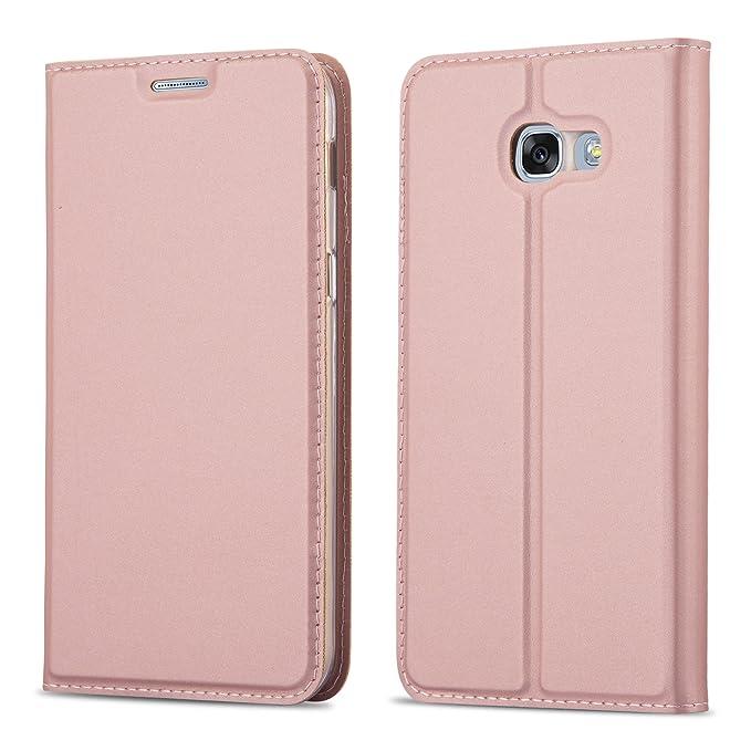 Cadorabo Hülle für Samsung Galaxy A5 2017 (7) - Hülle in ROSÉ Gold – Handyhülle mit Standfunktion und Kartenfach im Metallic