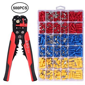 Crimping Tool Set Crimper Stripper Plier w//500*Insulated Connector Terminal Kit